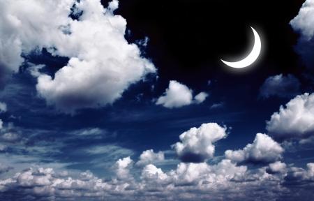 Night fairy tale - bright moon in the night sky Stock Photo