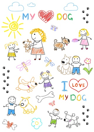 Childrens and dogs. Rasterized version of vector illustration illustration