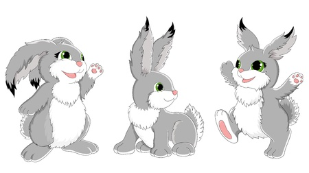 Collection of funny rabbits Vector