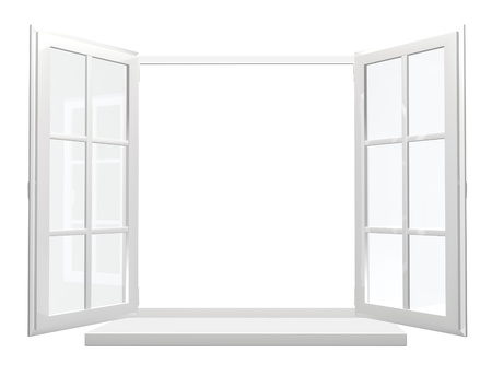 Opened window. Isolated over white