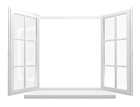 Opened window. Isolated over white
