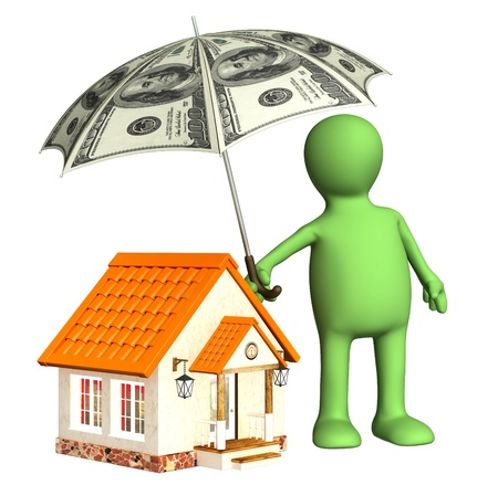 Financial protection. Puppet with umbrella and house photo