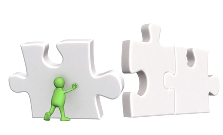 puzzling: 3d puppet, supporting falling parts of puzzles. Isolated over white