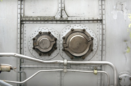 aircraft rivets: Close-up details of old turbine aircraft Stock Photo