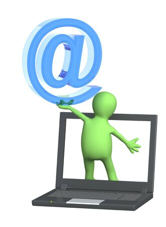 3d puppet a symbol email and laptop Stock Photo - 18385356