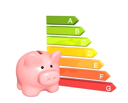 energy saving: Piggy bank with energy efficiency rating. Isolated over white Stock Photo