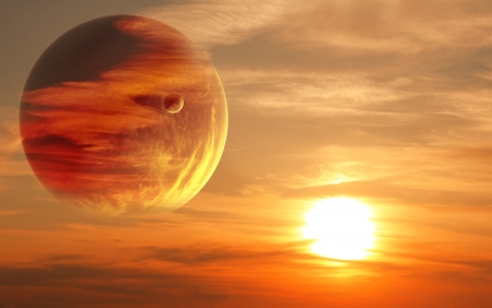Collage - sunset in alien planet Stock Photo - 18540759