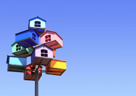 nesting: Colorful nesting boxes on blue sky