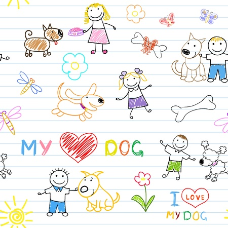 Children's and dogs. Seamless background Stock Vector - 19022470