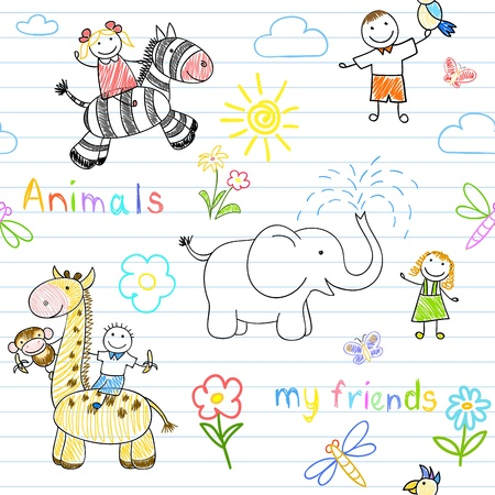 child drawing: Seamless background with happy childrens and animals. Sketch on notebook page