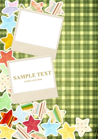 Decorative background with photo and paper stars Stock Photo
