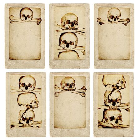 skull and bones: Collection of grunge cards with human skulls and bones