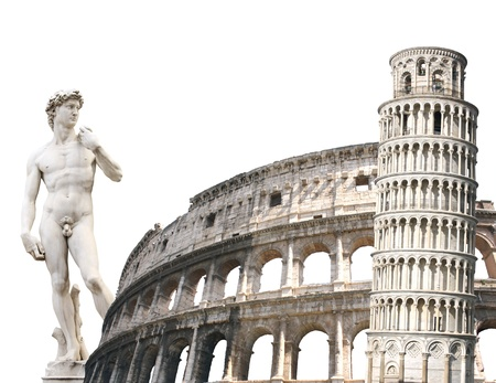 Leaning Tower of Pisa, Colosseum and Michelangelos David. Isolated over white photo