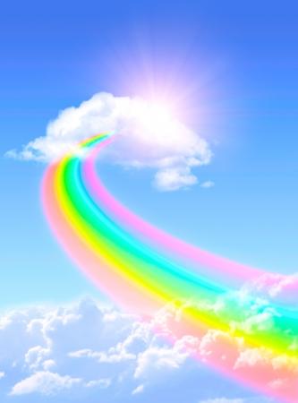 Hermoso arco iris brillante en el cielo azul