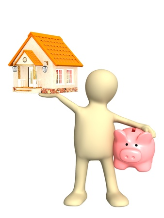 purchasing manager: Puppet with piggy bank and house. Isolated over white Stock Photo