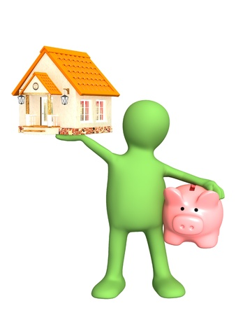 supporting: Puppet with piggy bank and house. Isolated over white Stock Photo