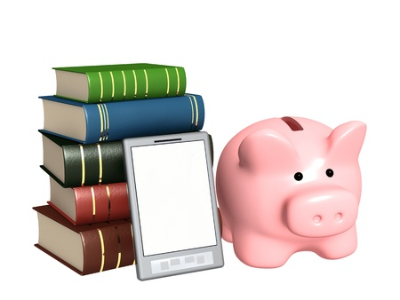 Piggy bank, e-book and books. Objects isolated over white photo