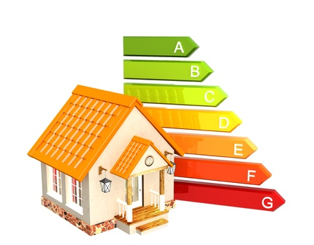 energy symbol: House and energy efficiency rating. Isolated over white