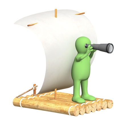 Puppet with spyglass on wooden raft. Isolated over white
