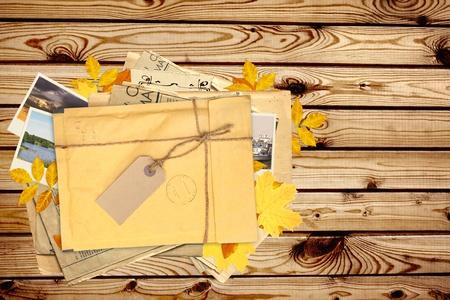 Old envelope with label for scrapbooking design