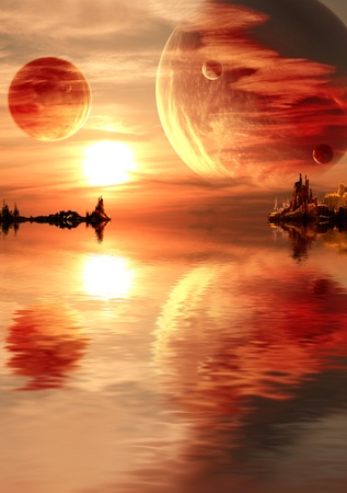 Landscape in fantasy planet photo