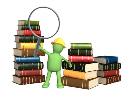 librarian: Puppet with loupe and books. Isolated over white