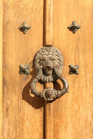 Antique handle with lion head photo