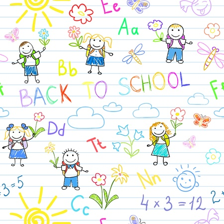 notebook page: Seamless background. Back to school. Sketches with happy pupils. Sketch on notebook page