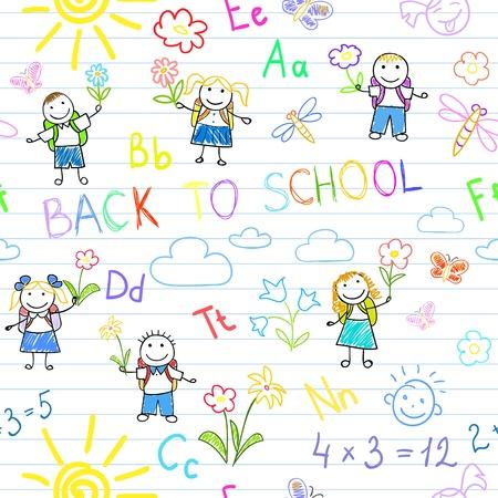zaino scuola: Sfondo senza soluzione di continuit�. Torna a scuola. Schizzi con gli alunni felici. Sketch a pagina notebook Vettoriali