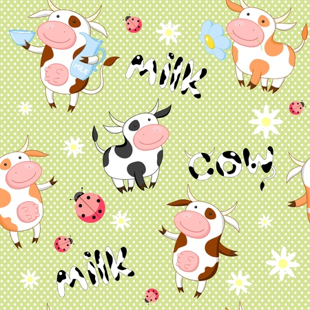 Seamless background with cute cows and ladybirds
