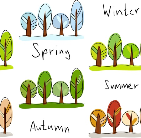 changing seasons: Seamless background. Four seasons - winter, spring, summer and autumn Illustration
