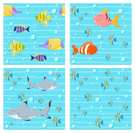 Vector collection of seamless backgrounds with cute fishes Stock Vector - 21325463