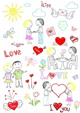 pareja comiendo: Una pareja de amantes. Boceto en la página portátil