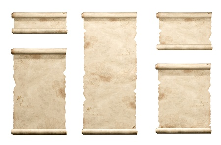 ancient scroll: Collection of old parchments. Isolated over white