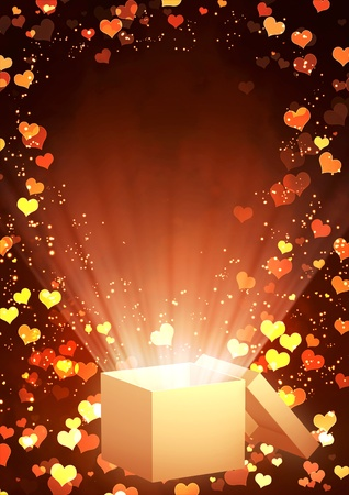 Vertical valentine background with magic box photo