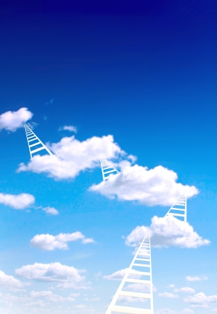 Ladders on white clouds photo