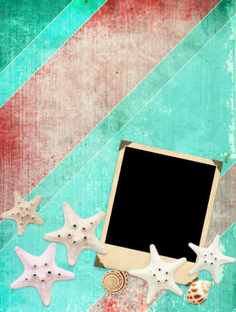 Old photo and starfishes for scrapbooking photo