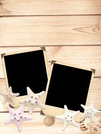 Old photos and starfishes for scrapbooking photo