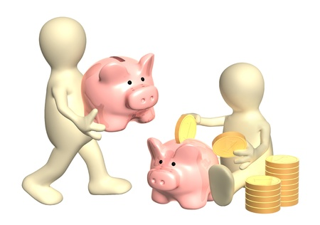 Puppets with piggy banks and coins. Isolated over white