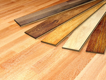 Laminated Flooring Board New Oak Parquet Of Different Colors Stock Photo
