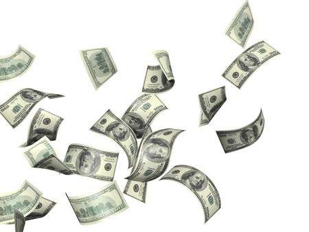 dinero volando: S?mbolo de riqueza y ?xito - lluvia de d?lares. Aislado en blanco