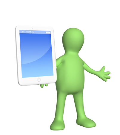 dealing: Puppet with smart phone Stock Photo
