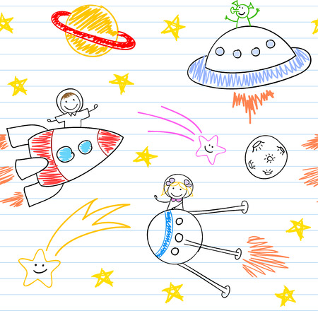 Seamless background with happy children's and aliens. Sketch on notebook page Vector