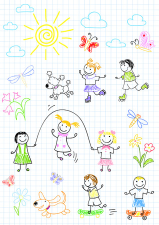 Happy friends, playing outdoors. Sketch on notebook page Vector
