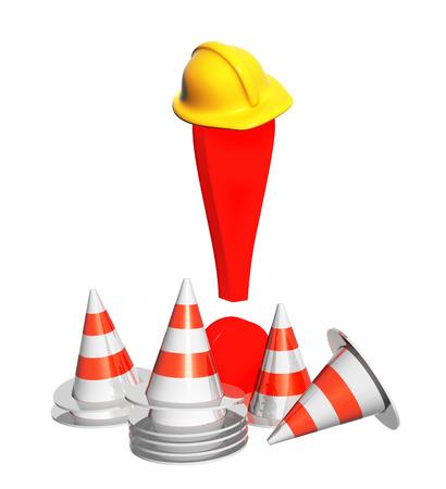 exclamation mark: Signo de exclamaci�n, conos de carretera y sombrero. Objetos aislados oh fondo blanco
