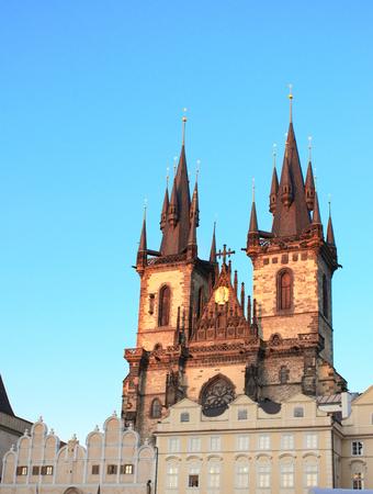 tynsky church: A beautiful sunset lights the side of Tyn Church, Prague Stock Photo