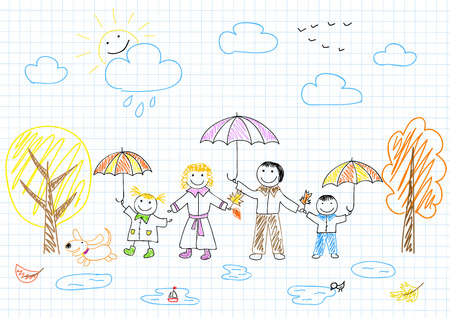 Happy family  Vector sketch on notebook page Vector