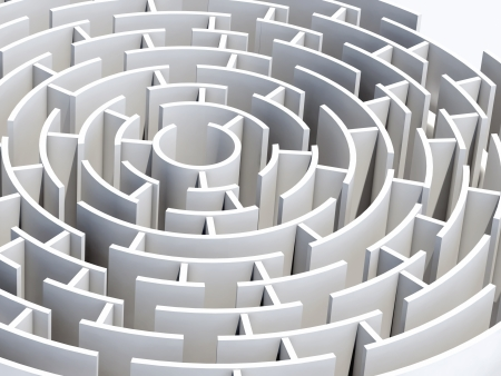 Circular 3d maze of white color photo