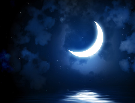 crescent lake: Night fairy tale - bright moon reflected in water Stock Photo