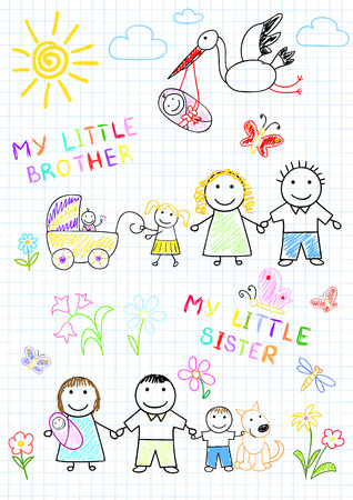 Happy family with a newborn. Vector sketch on notebook page Vector